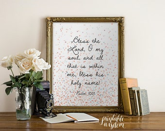 Bible Verse Art print, printable Scripture wall art decor, confetti INSTANT DOWNLOAD nursery bible verse - Bless the Lord - Psalm 103:1