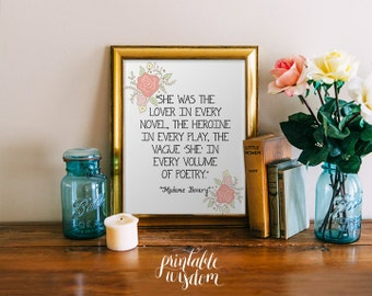 Literary Quote Print, Printable art wall decor INSTANT DOWNLOAD, inspirational literature quotes poster - Madame Bovary - digital