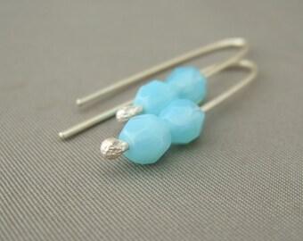 Pale Blue Earrings - Blue Summer Sky Faceted Czech Glass and Sterling Silver Drop Earrings