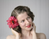 "Tropical Hair Flower, Pink 1950s Hair Accessory, Floral Clip, Fuchsia Lily Fascinator, Tiki Hawaiian Passion - ""Lipstick Sunrise"""