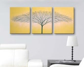 "Canvas art Wall art Tree of Life Wall Decor Canvas Painting Home Decor Wall Hangings Modern Art Cadmium Yellow Art 36""x16"" ORIGINAL PAINTING"