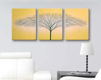 "Wall Art Yellow Canvas Painting Tree of Life Wall Decor Home Decor Wall Hangings Cadmium Yellow Art 36""x16"" Original Painting"