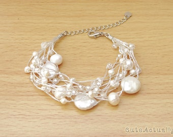 Multistrand white freshwater pearl bracelet with crystal on silk thread, wedding jewelry