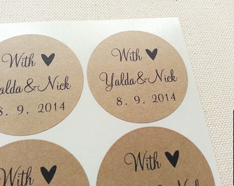 60 Custom Wedding Favor Labels Stickers Seals. Personalized Mason Jar Canning Labels. Invitation Seals