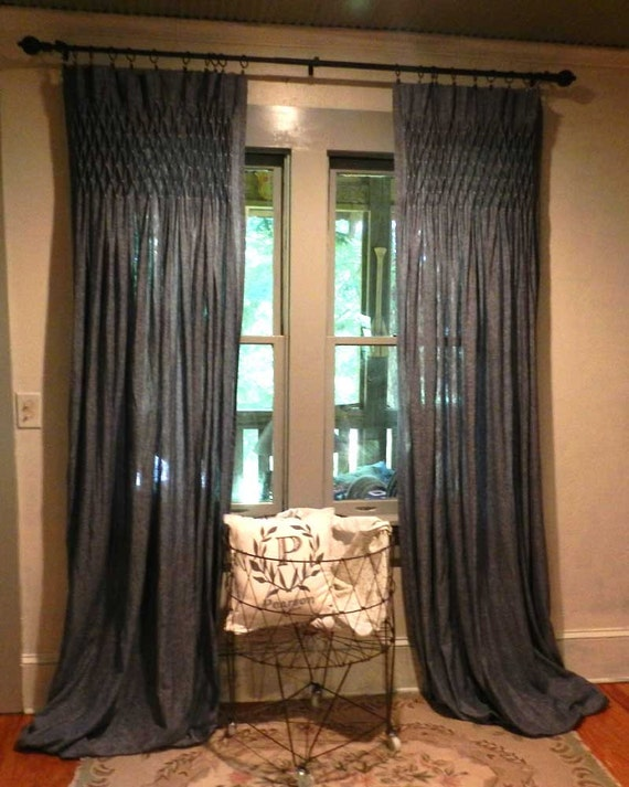 Hand Smocked Linen Curtain Drapery Panel Set By Pearsonbrand
