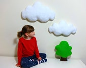 Set of two White wall clouds  wall hanging decor cloud pillow cloud cushion baby nursery kids room childrens home decor