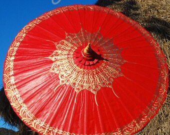 Hand Painted Red Waterproof Parasol, Red Umbrella, Red Parasol, Festival Umbrella, Wedding Parasol, Waterproof Parasol, Parasol Umbrella
