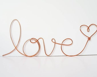 "Soft cursive ""love"" wall phrase Copper or Brass wire sign"