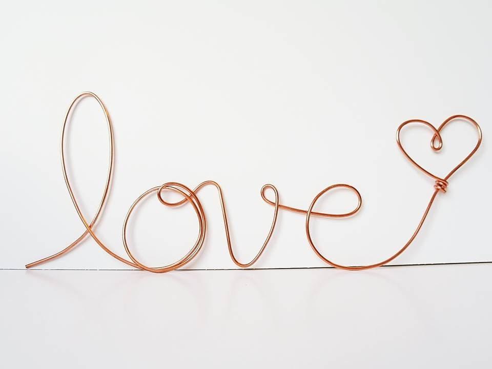 Soft Cursive Love Wall Phrase Copper Or Brass Wire