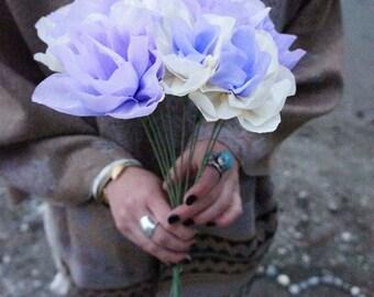 Periwinkle flower bouquet  // crepe paper // cream/periwinkle color combination