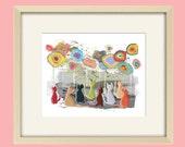 Cat art, nursery art childrens art cat nursery art abstract art, girl nursery art nursery decor baby girl nursery kids wall art bathroom art
