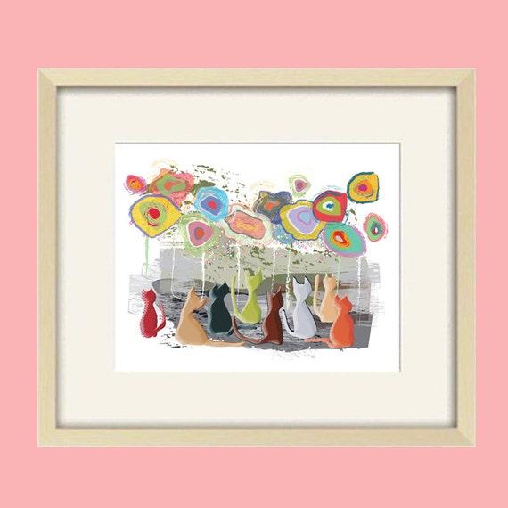 Cat art, cat poster art,children's art, modern cat nursery,abstract art,teen girl,teen boy art,kids wall art,bathroom art,kids bathroom art