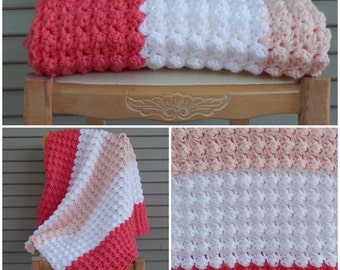 Thick Pink and White Crochet Blanket, Baby Blanket, Luxurious Soft