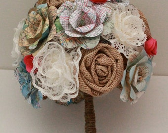 Map paper flower bouquet