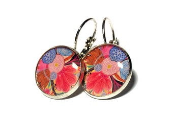 Vibrant Pink Floral Dangle Resin Earrings 16mm