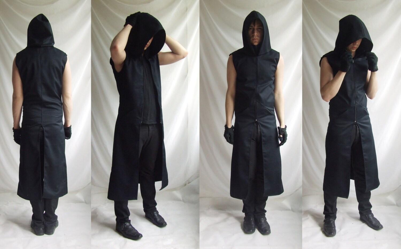 Sleeveless Reaper Hoodie long mens black dark noir sleeveless