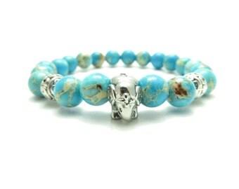 Sacred Elephant Healing Mala Bracelet Yoga Jewelry Meditation Turquoise Terra Jasper Yoga Wrist Mala Meditation Gemstone Beads Buddhist Gift