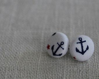 Navy Anchor Button Earring