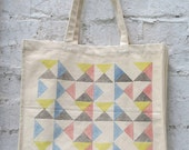 Tote bag:'Signals' design hand printed on canvas tote bag with gusset. ANNIVERSARY LIMITED EDITION (multi-coloured)