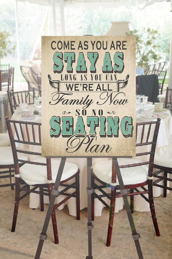 No Seating Plan Wedding Sign With Custom Accent Color