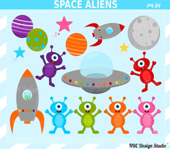 SUMMER SALE Space Aliens Clip Art Outer Space by ...