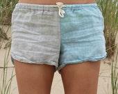 Linen Shorts > Beige / Light Blue Combo