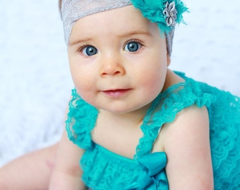 teal baby girl outfit, baby romper,petti romper,baby headband,first birthday photo outfit,headband and lace petti romper
