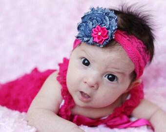 fuchsia/denim baby girl outfit, hot pink baby romper,petti romper,baby headband,first birthday photo outfit,headband and lace petti romper