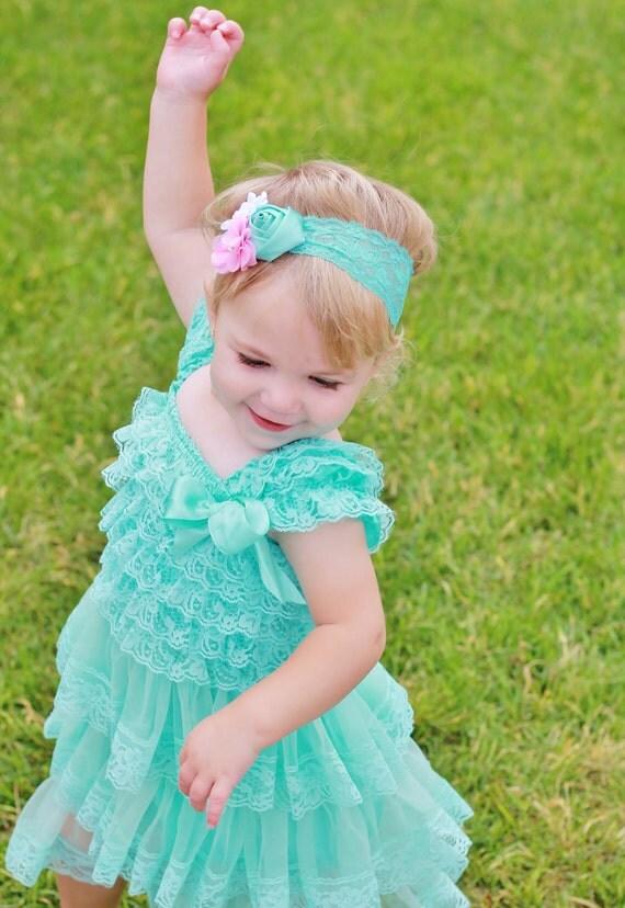 lovely aqua lace baby dress headband SETaqua by SallyAnnaSunshines
