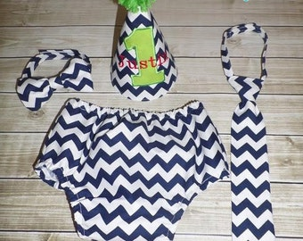 Chevron Baby Boy Cake Smash Set First Birthday Outfit