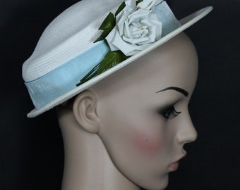 Vintage 1950s Hat Garden Party Mad Man Rockabilly Designer Dress Retro femme fatale White Hat