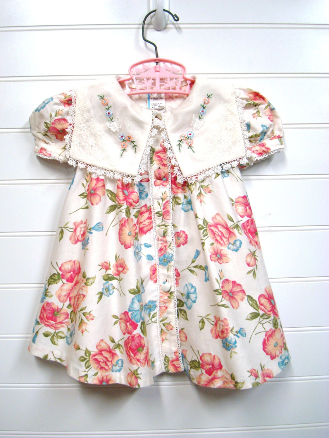 vintage baby clothes baby girl dress cream floral shabby