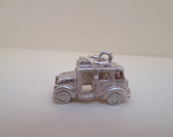 Vintage Taxi Sterling Silver Car Charm