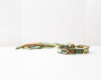 Woven Bracelet Multicolor Arrow Tribal Friendship Bracelet Chevron / Stocking Stuffer / Green Mint Yellow Brown