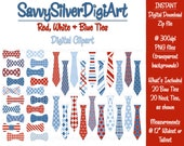 Necktie & Bow Tie Clipart - Instant Download, Red White Blue, Patriotic Printable Tie Bow Clip Art, Scrapbook or Invites