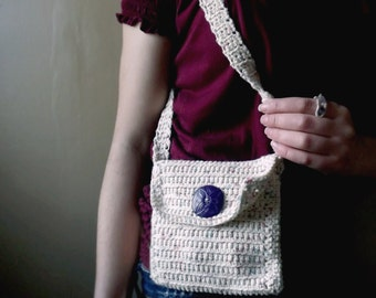 Crochet Shoulder Bag in Springtime Colors with Polymer Clay Button