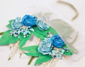 Origami Rose Wrist Corsage and Boutonniere Savings Set - Prom/Wedding Design 2 - Donate to Charity!
