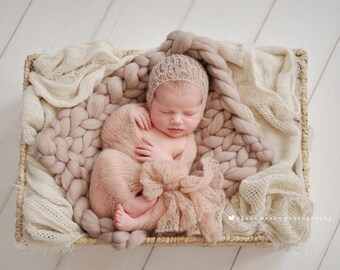 Newborn bonnet and wrap set in 43 colors.Mohair baby wrap newborn photo prop baby blanket Stretch Wrap