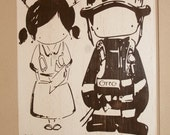Firefighter Sign, Firefighter Decor, Nurse Sign, Distressed Wall Decor, Custom Wood Sign - Firefighter/Nurse Cutie Couple by Yu Yu Art