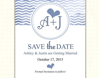 Save the Date Card, announcement, engagement, wedding, monogrammed, postcard, magnet, digital, printable, invite WSD1488