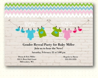 Gender Reveal Party Invitation, boy, girl, onesie, blue, pink, party, digital, printable, invite GR1441
