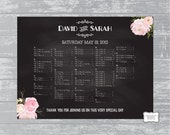 "Custom Printable Guest Seating Chart 24x18""... Peony Floral Chalkboard Design"