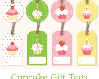 Cupcake Birthday Gift Tags - Instant Download Printable Gift Labels