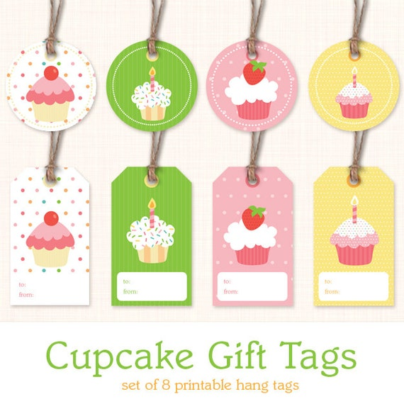 Cupcake Birthday Gift Tags Instant Download Printable Gift