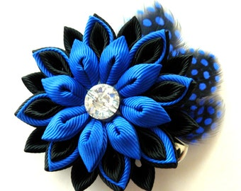 Kanzashi fabric flower hair clip with feathers. Black and blue hair clip. Hair clip with feathers.