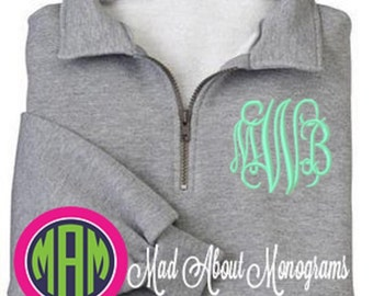 Monogram Sweatshirt - Quarter Zip Pullover by Mad About Monograms - 4 Colors