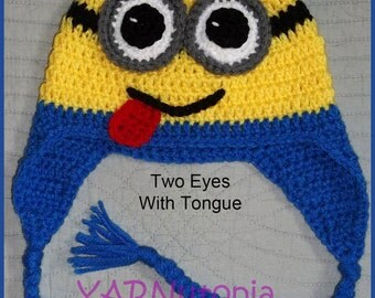 DIGITAL DOWNLOAD: Crochet PATTERN for Minion Earflap Hat Size Infant to Large Adult 6 different Sizes
