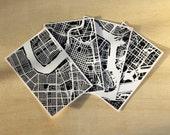 Set of Four Hand-Drawn Map Prints, 4x6 or 5x7 Prints
