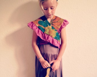 Girls Shawl/Vintage/Flower/Wrap around/ Pink/Brown/Blue/Green