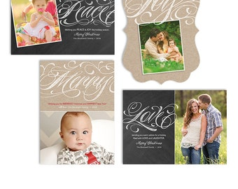 Christmas Card Templates - Photoshop Christmas Photo Cards - Four Card Package - Flourish Collection - 1344